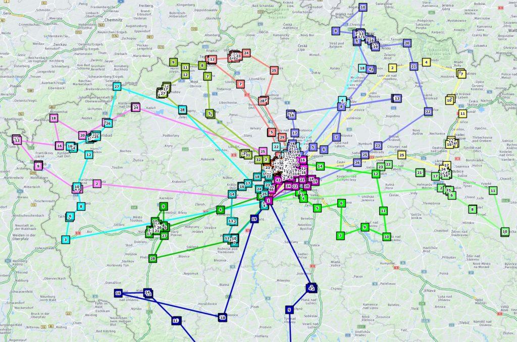mapa čech strasami rozvozů